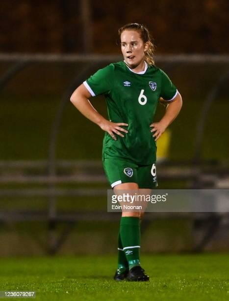 Limerick , Ireland - 23 October 2021; Muireann Devaney of Republic of Ireland reacts after the UEFA Women's U19 Championship Qualifier match between...