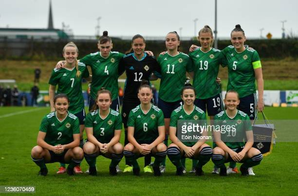 Limerick , Ireland - 23 October 2021; Northern Ireland team before the UEFA Women's U19 Championship Qualifier match between England and Northern...