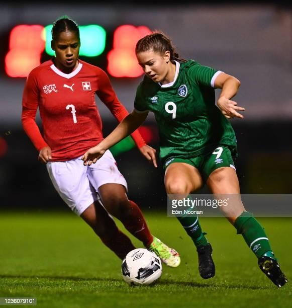 Limerick , Ireland - 23 October 2021; Rebecca Watkins of Republic of Ireland in action against Aurélie Csillag of Switzerland during the UEFA Women's...
