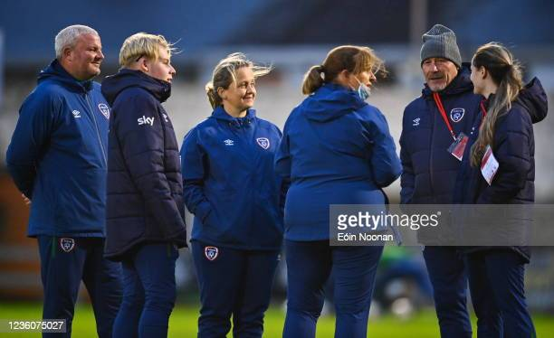 Limerick , Ireland - 23 October 2021; Republic of Ireland manager Dave Connell, second from right, with his coaching staff before the UEFA Women's...