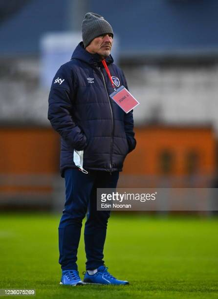 Limerick , Ireland - 23 October 2021; Republic of Ireland manager Dave Connell walks the pitch before the UEFA Women's U19 Championship Qualifier...