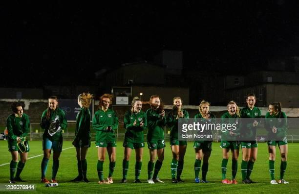 Limerick , Ireland - 23 October 2021; Republic of Ireland players before the UEFA Women's U19 Championship Qualifier match between Switzerland and...