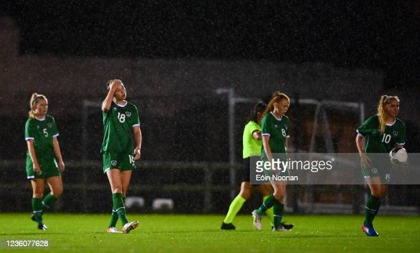 Limerick , Ireland - 23 October 2021; Republic of Ireland players, from left, Jessie Stapleton, Maria Reynolds, Kate Slevin and Ellen Molloy after...