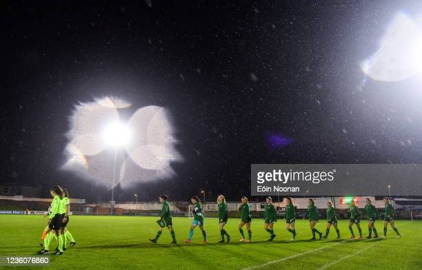Limerick , Ireland - 23 October 2021; Republic of Ireland players make their way out onto the pitch before the UEFA Women's U19 Championship...