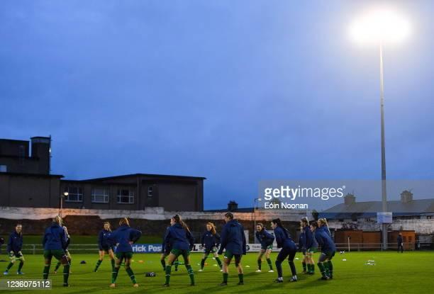 Limerick , Ireland - 23 October 2021; Republic of Ireland players warm-up before the UEFA Women's U19 Championship Qualifier match between...