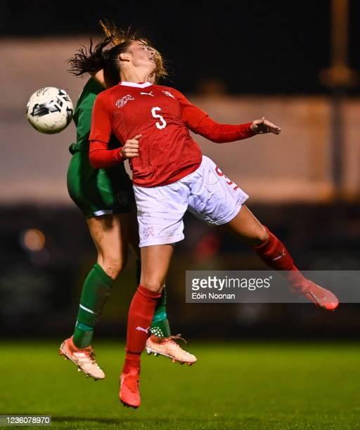 Limerick , Ireland - 23 October 2021; Shauna Brennan of Republic of Ireland in action against Elena Mühlemann of Switzerland during the UEFA Women's...