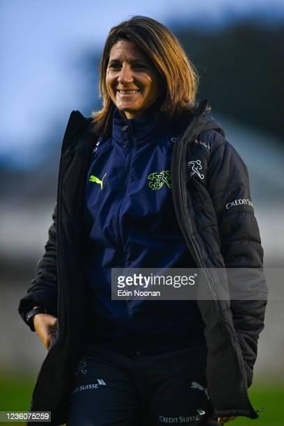 Limerick , Ireland - 23 October 2021; Switzerland coach Monica Di Fonzo walks the pitch before the UEFA Women's U19 Championship Qualifier match...