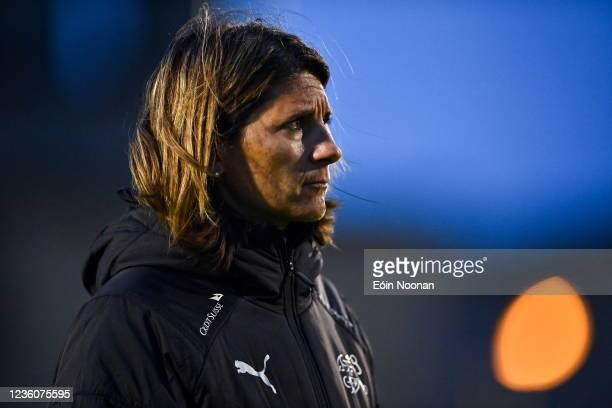 Limerick , Ireland - 23 October 2021; Switzerland coach Monica Di Fonzo before the UEFA Women's U19 Championship Qualifier match between Switzerland...