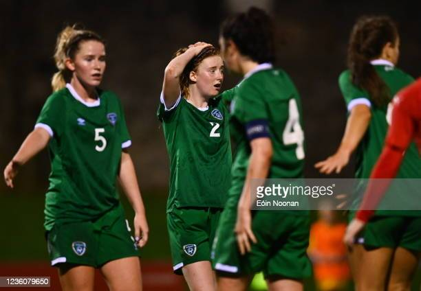 Limerick , Ireland - 23 October 2021; Therese Kinnevey of Republic of Ireland reacts during the UEFA Women's U19 Championship Qualifier match between...
