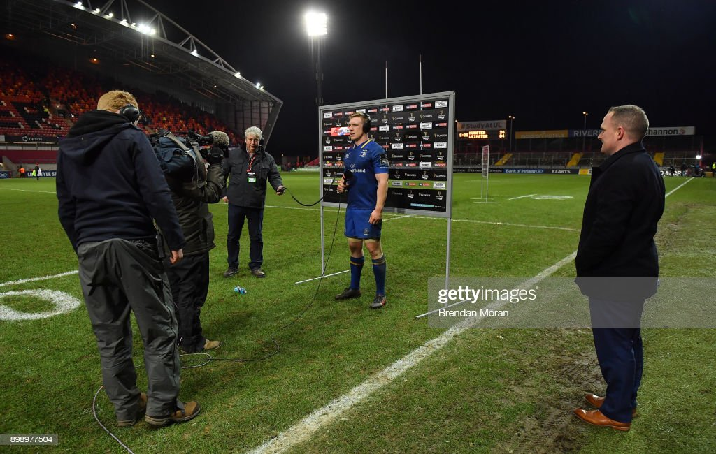 Limerick , Ireland - 26 December 2017; Dan Leavy of Leinster is interviewed by Sky Spots after the Guinness PRO14 Round 11 match between Munster and Leinster at Thomond Park in Limerick.