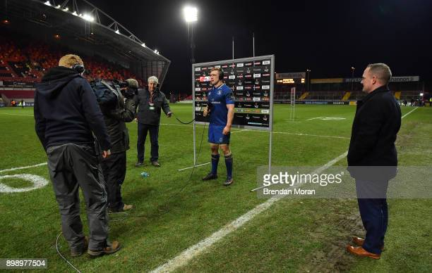 Limerick Ireland 26 December 2017 Dan Leavy of Leinster is interviewed by Sky Spots after the Guinness PRO14 Round 11 match between Munster and...