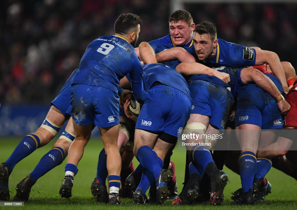 Limerick , Ireland - 26 December 2017; Leinster scrum-half Jamison Gibson-Park takes the ball as team-mates Tadhg Furlong, centre, and Jack Conan controll a maul during the Guinness PRO14 Round 11 match between Munster and Leinster at Thomond Park in Limerick.