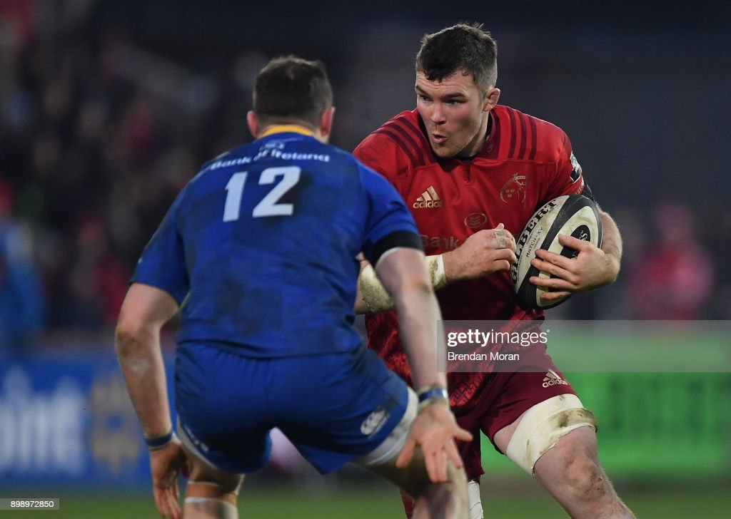 Limerick , Ireland - 26 December 2017; Peter O'Mahony of Munster in action against Robbie Henshaw of Leinster during the Guinness PRO14 Round 11 match between Munster and Leinster at Thomond Park in Limerick.