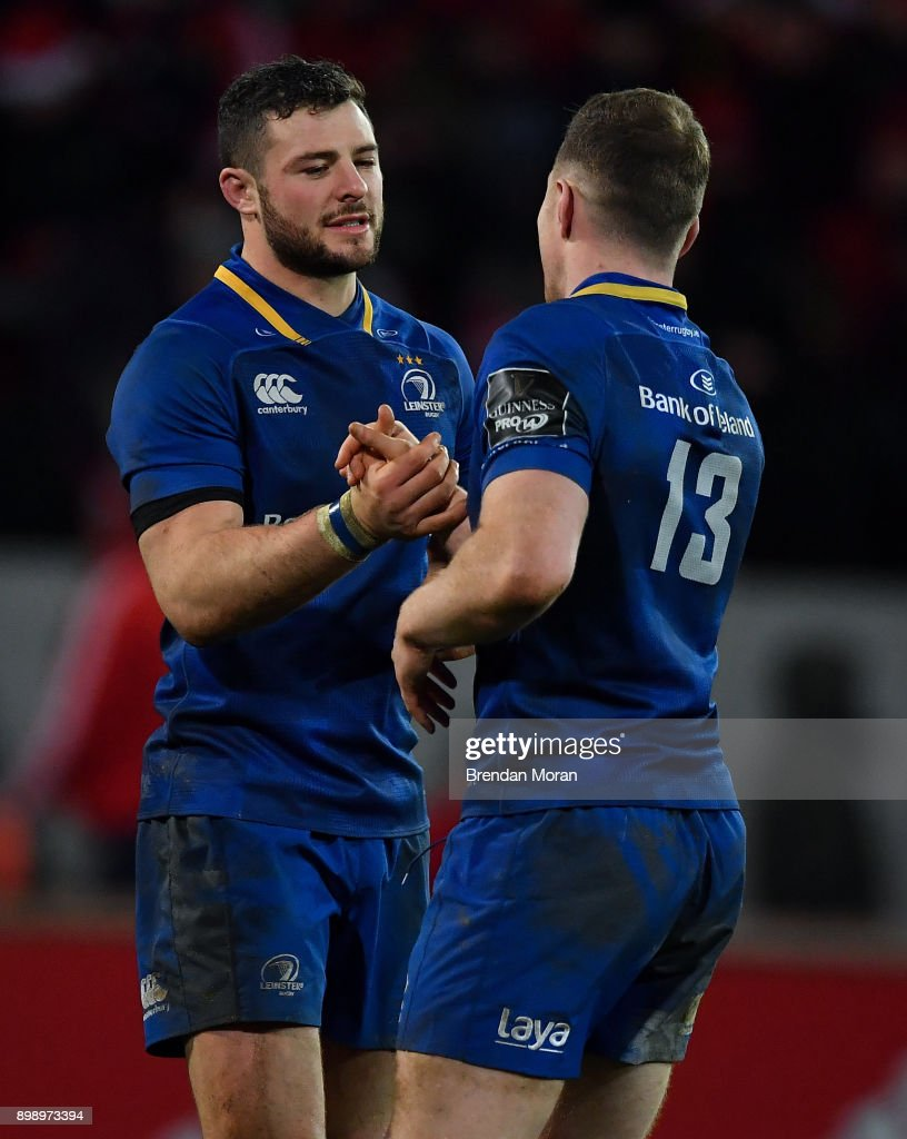 Limerick , Ireland - 26 December 2017; Robbie Henshaw, left, and Rory O'Loughlin of Leinster celebrate after the Guinness PRO14 Round 11 match between Munster and Leinster at Thomond Park in Limerick.