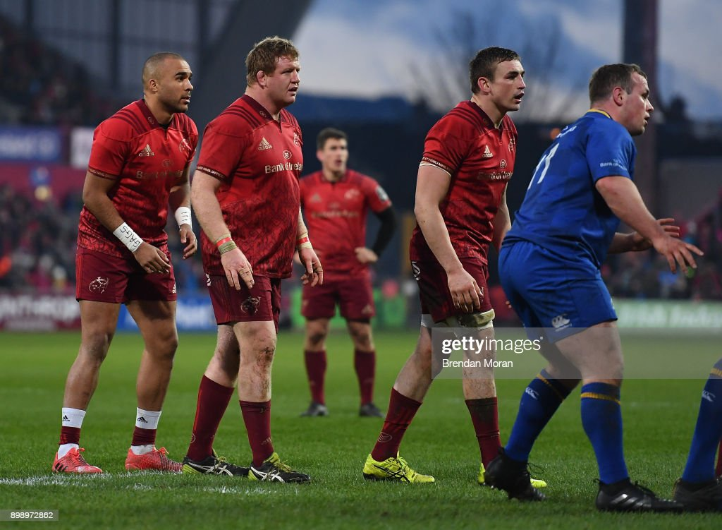 Limerick , Ireland - 26 December 2017; Simon Zebo of Munster, left, stands alongside team-mates Stephen Archer and Tommy O'Donnell at the back of a lineout during the Guinness PRO14 Round 11 match between Munster and Leinster at Thomond Park in Limerick.