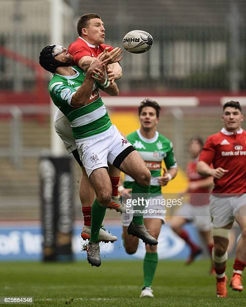 Limerick Ireland 26 November 2016 Andrew Conway of Munster in action against Ian McKinley of Benetton Treviso during the Guinness PRO12 Round 9 match...