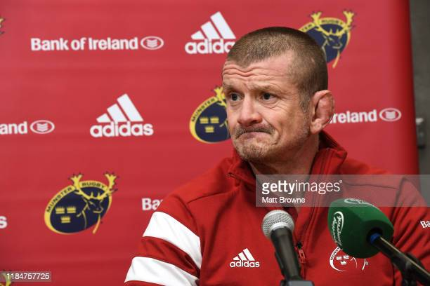 Limerick , Ireland - 26 November 2019; Munster forwards coach Graham Rowntree during a Munster Rugby squad press conference at University of Limerick...