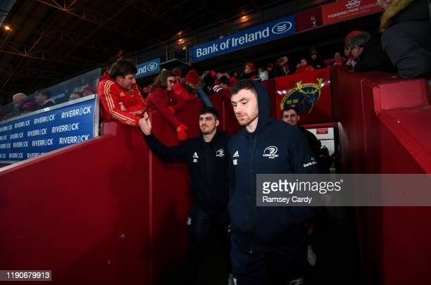Limerick , Ireland - 28 December 2019; Jimmy O'Brien, right, with Hugo Keenan of Leinster, as they enter the pitch prior to the Guinness PRO14 Round...