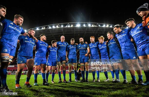 Limerick , Ireland - 28 December 2019; Scott Fardy of Leinster speaks to his team-mates following the Guinness PRO14 Round 9 match between Munster...
