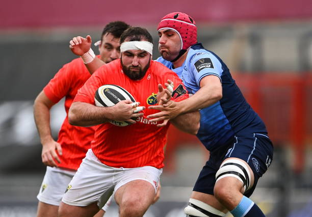 Limerick , Ireland - 28 May 2021; James Cronin of Munster is tackled by Cory Hill of Cardiff Blues during the Guinness PRO14 Rainbow Cup match between Munster and Cardiff Blues at Thomond Park in Limerick. (Photo By Piaras Ó Mídheach/Sportsfile via Getty Images)