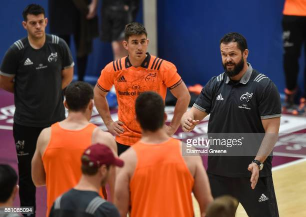 Limerick Ireland 28 November 2017 Ireland defence coach Andy Farrell speaks to Munster players during Munster Rugby Squad Training at the University...