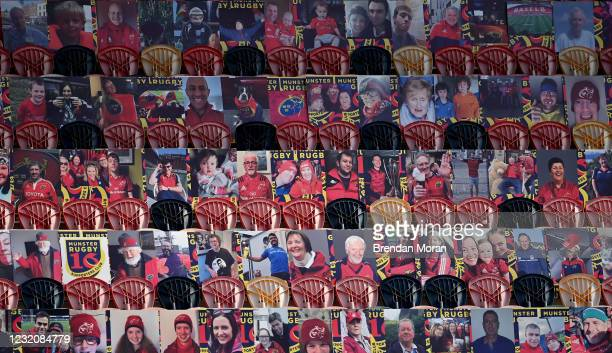 Limerick , Ireland - 3 April 2021; Cardboard cut-outs of Munster supporters are seen in the empty stands before the Heineken Champions Cup Round of...