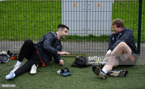 Limerick Ireland 3 January 2018 Conor Murray and Stephen Archer prepare for Munster Rugby squad training at the University of Limerick in Limerick