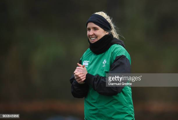Limerick Ireland 3 January 2018 Referee Joy Neville during Munster Rugby squad training at the University of Limerick in Limerick