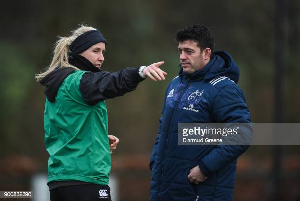 Limerick Ireland 3 January 2018 Referee Joy Neville in conversation with performance analyst George Murray during Munster Rugby squad training at the...