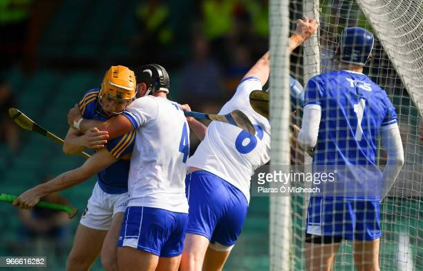 Limerick Ireland 3 June 2018 Austin Gleeson of Waterford catches the ball in the square the umpires ruled the ball had crossed the line and awarded...