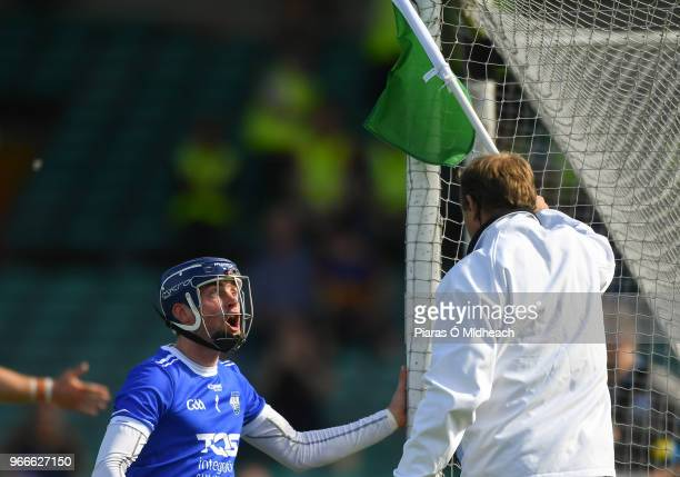 Limerick Ireland 3 June 2018 Waterford goalkeeper Stephen O'Keeffe appeals to the umpire after Austin Gleeson was adjudged to have carried the ball...