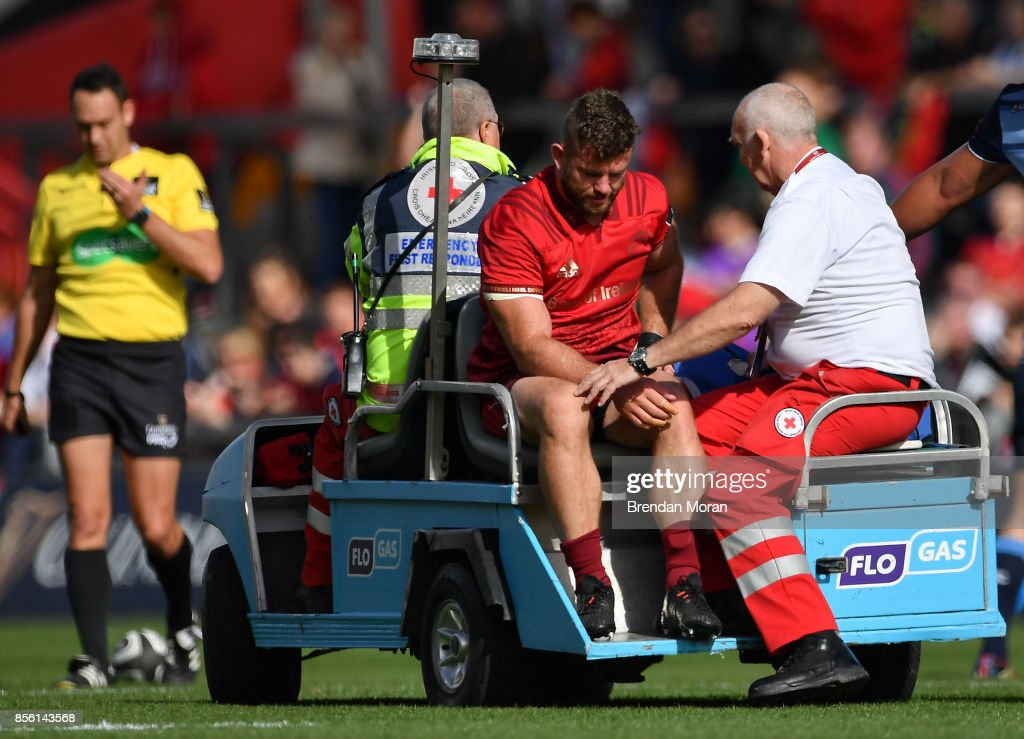 Limerick , Ireland - 30 September 2017; Jaco Taute of Munster leaves the pitch with an injury during the Guinness PRO14 Round 5 match between Munster and Cardiff Blues at Thomond Park in Limerick.