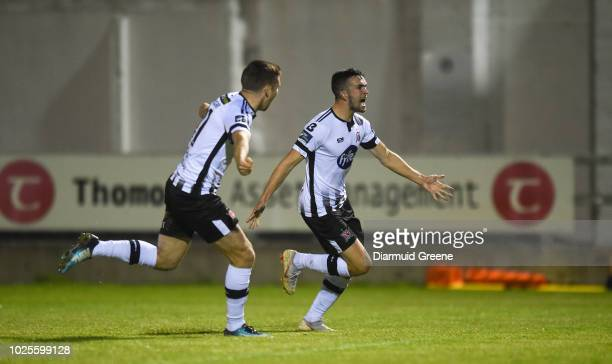 Limerick Ireland 31 August 2018 Michael Duffy right of Dundalk celebrates with teammate Patrick McEleney after scoring his side's first goal during...
