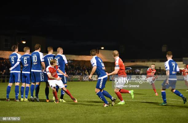 Limerick , Ireland - 31 March 2017; Kevin O'Connor of Cork City takes a free kick during the SSE Airtricity League Premier Division match between...