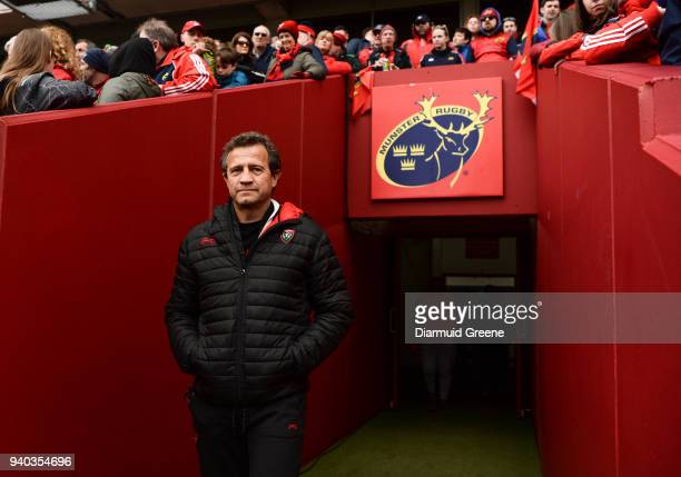 Limerick Ireland 31 March 2018 RC Toulon head coach Fabien Galthié prior to the European Rugby Champions Cup quarterfinal match between Munster and...