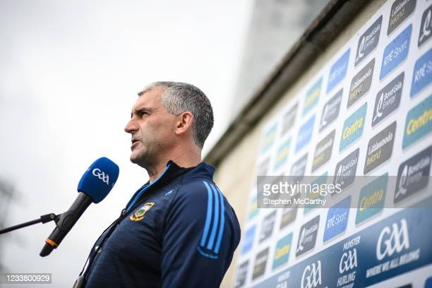 Limerick , Ireland - 4 July 2021; Tipperary manager Liam Sheedy is interviewed for TV before the Munster GAA Hurling Senior Championship Semi-Final...