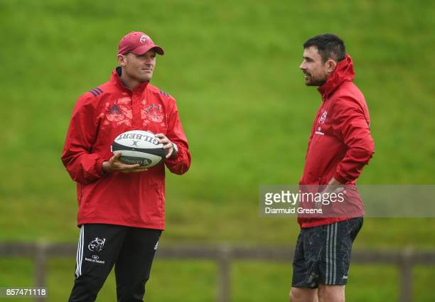 Limerick Ireland 4 October 2017 Munster defence coach Jacques Nienaber in conversation with technical coach Felix Jones during Munster Rugby Squad...