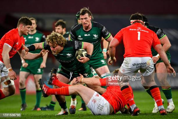 Limerick , Ireland - 5 March 2021; Finlay Bealham of Connacht in action against Jack O'Donoghue of Munster during the Guinness PRO14 match between...