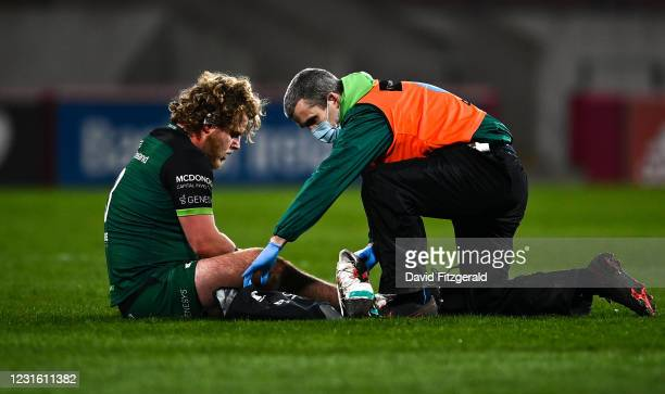 Limerick , Ireland - 5 March 2021; Finlay Bealham of Connacht receives treatment during the Guinness PRO14 match between Munster and Connacht at...