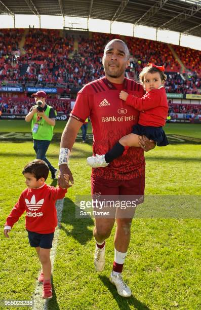 Limerick Ireland 5 May 2018 An emotional Simon Zebo with son Jacob and daughter Sofia following the Guinness PRO14 semifinal playoff match between...