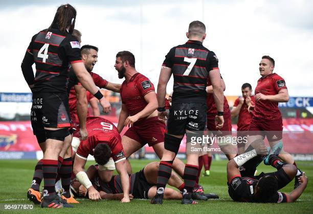 Limerick Ireland 5 May 2018 Rhys Marshall of Munster centre celebrates with Conor Murray after scoring his side's first try during the Guinness PRO14...