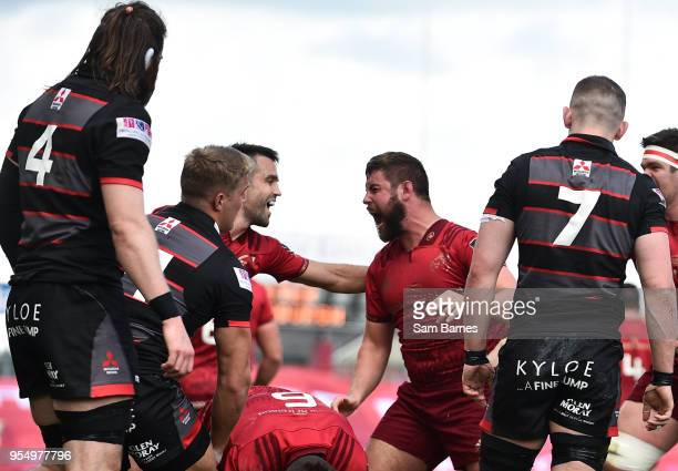 Limerick Ireland 5 May 2018 Rhys Marshall of Munster centre celebrates witm Conor Murray after scoring his side's first try during the Guinness PRO14...