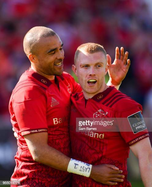 Limerick Ireland 5 May 2018 Simon Zebo left and Keith Earls of Munster celebrate at the final whistle following the Guinness PRO14 semifinal playoff...