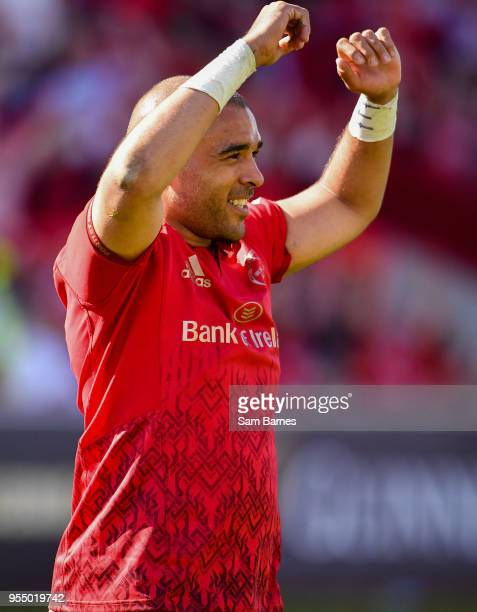 Limerick Ireland 5 May 2018 Simon Zebo of Munster celebrates at the final whistle following the Guinness PRO14 semifinal playoff match between...