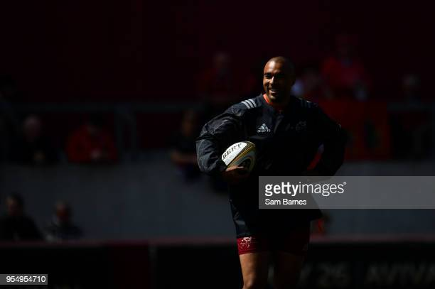 Limerick Ireland 5 May 2018 Simon Zebo of Munster during the warmup ahead of the Guinness PRO14 semifinal playoff match between Munster and Edinburgh...