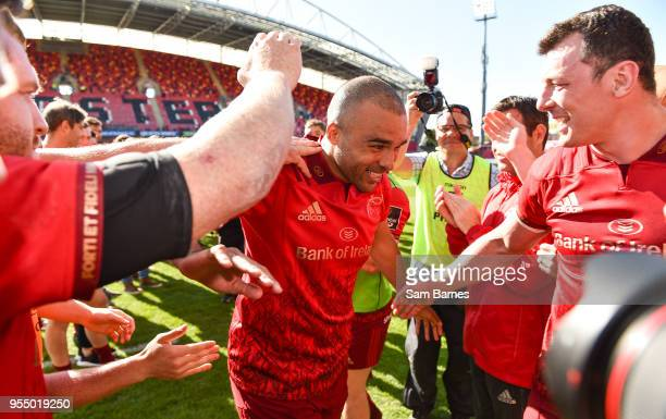Limerick Ireland 5 May 2018 Simon Zebo of Munster is applauded off the field by teammates following the Guinness PRO14 semifinal playoff match...