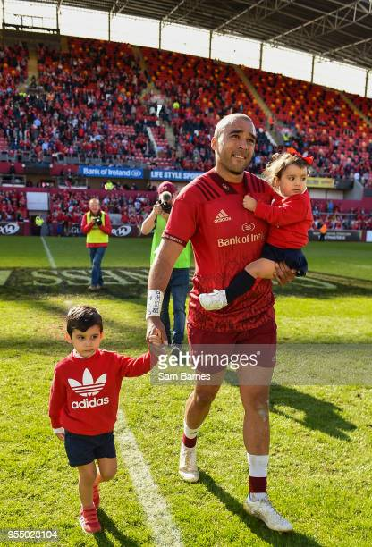 Limerick Ireland 5 May 2018 Simon Zebo with son Jacob and daughter Sofia following the Guinness PRO14 semifinal playoff match between Munster and...
