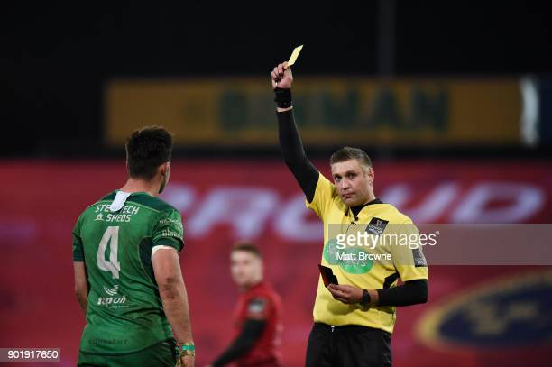 Limerick Ireland 6 January 2018 Quinn Roux of Connacht is shown a yellow card by referee David Wilkinson during the Guinness PRO14 Round 13 match...