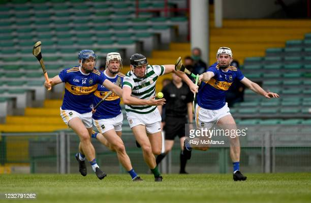 Limerick , Ireland - 8 May 2021; Conor Boylan of Limerick in action against Jason Forde, left, Bryan O'Meara and Seamus Kennedy of Tipperary, right,...
