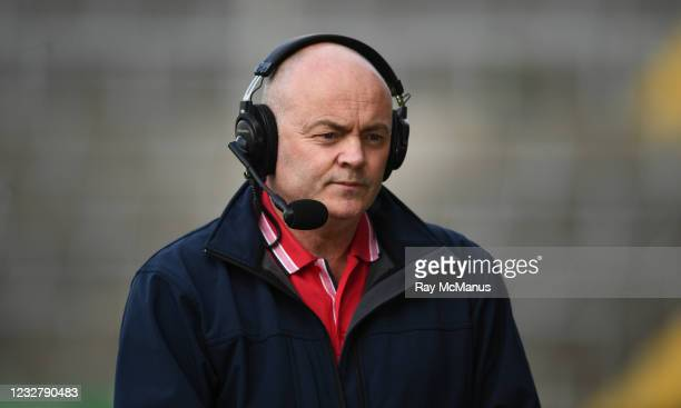 Limerick , Ireland - 8 May 2021; Former Clare captain Anthony Daly, working with RTÉ, before the Allianz Hurling League Division 1 Group A Round 1...
